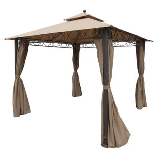 International Caravan St. Kitts 10-foot Double-vented Canopy Draped Square Gazebo (3 options available)