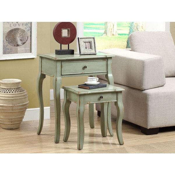 Antique Green Veneer Nesting Table (Set of 2)