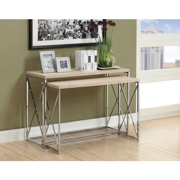 Natural Reclaimed-look Chrome Metal Console Table (Set of 2)