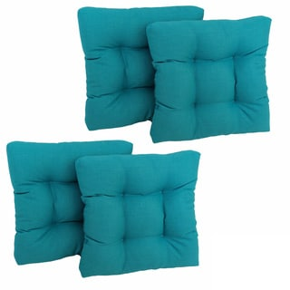 "Blazing Needles 19-inch Spun Poly Chair/ Rocker Outdoor Cushions (Set of 4) - 19"" x 19"""
