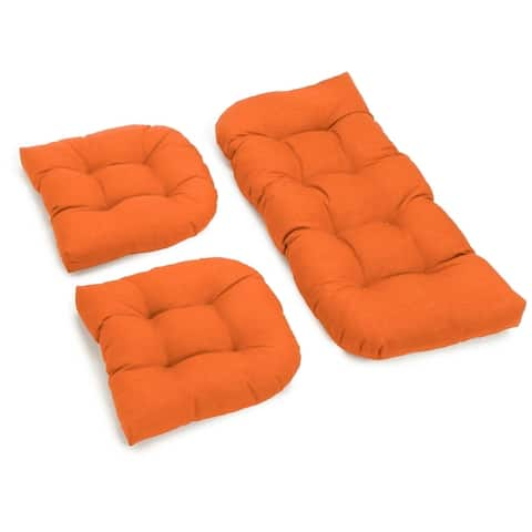 Blazing Needles 3-piece Solid-color Settee Replacement Cushion Set