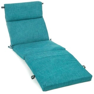 Blazing Needles 72-inch All-Weather Chaise Lounge Cushion (Aqua Blue)