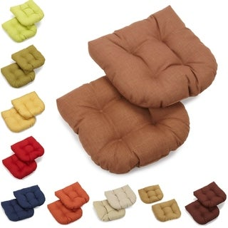 Blazing Needles Outdoor Spun Poly Chair/Rocker Tufted Cushions (Set of 2)