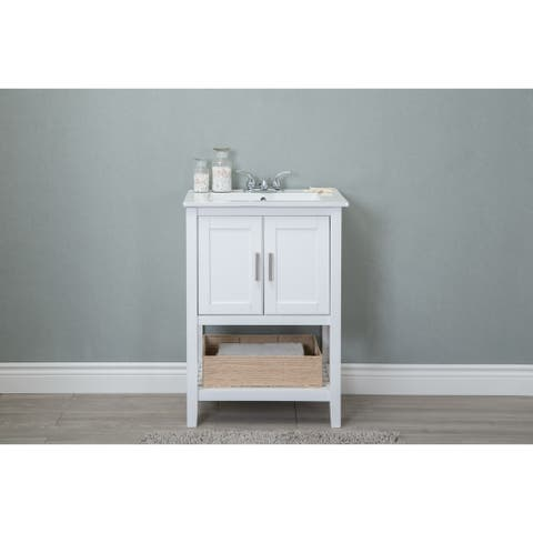 24 in. bathroom Vanity with Ceramic Top and Basket