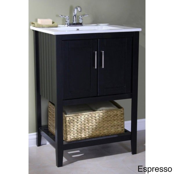 furniture ceramic top 24 inch single sink bathroom vanity with basket