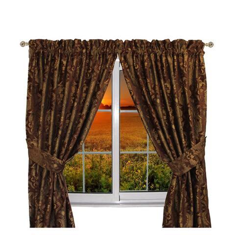 Sherry Kline Luxury China Art Brown 84-inch Curtain Panel Pair - 56 x 84