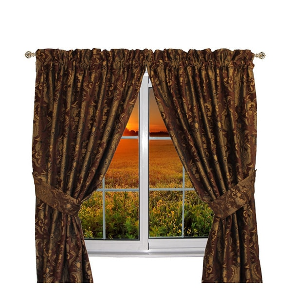 Sherry Kline Luxury China Art Brown 84-inch Curtain Panel Pair