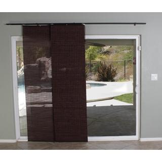 Lewis Hyman Bamboo Privacy Panel Track Sliding Shade in Walnut Finish