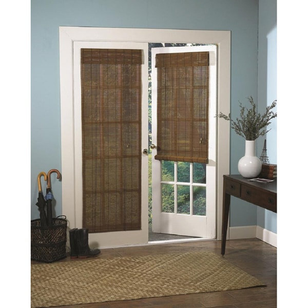 Roman Fruitwood Bamboo French Patio Door Shade Free