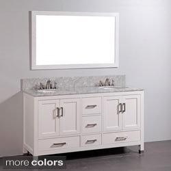 Shop Marble-top Double Sink Bathroom Vanity and Mirror Set ...