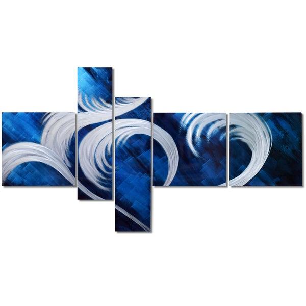 Hand Painted 'Blue Fury' 5-piece Metal Artwork