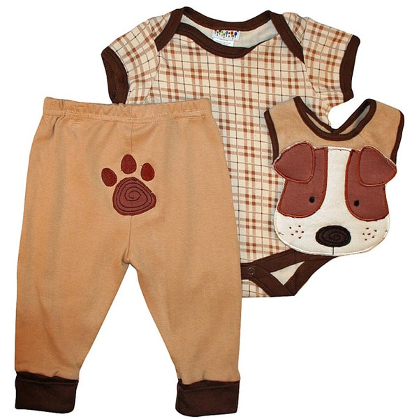 Dulce Baby Infant Boy's Brown Dog 3-piece Bib Set