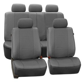 FH Group Deluxe Leatherette Grey Airbag Compatible Seat Covers (Full Set)