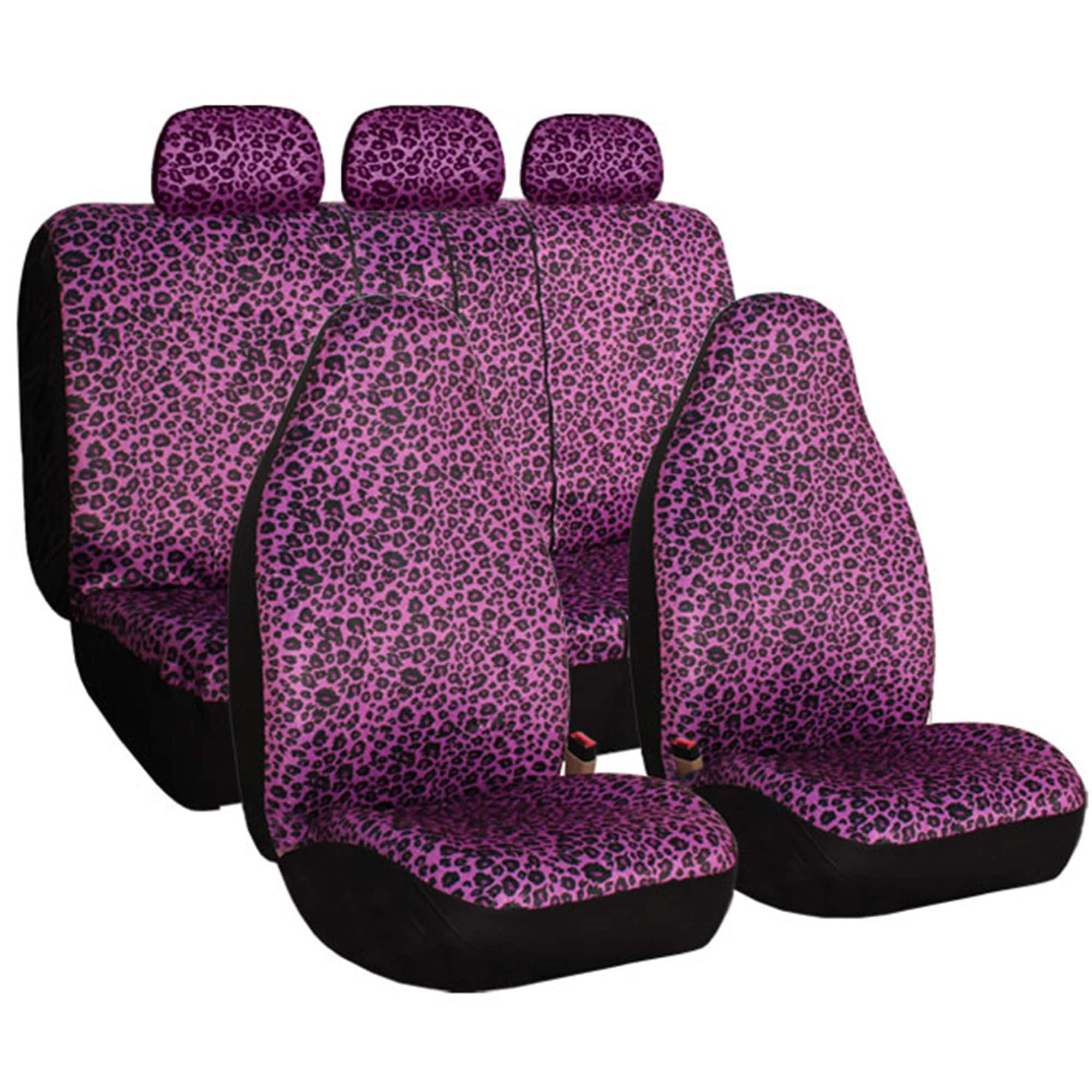 FH Group Purple Leopard Print Full Set Car Seat Covers (P...