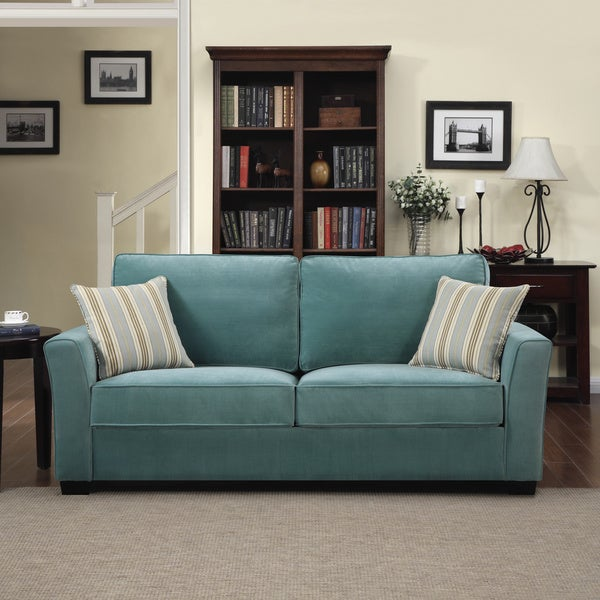Shop Portfolio Tara Turquoise Blue Velvet Sofa With Summer