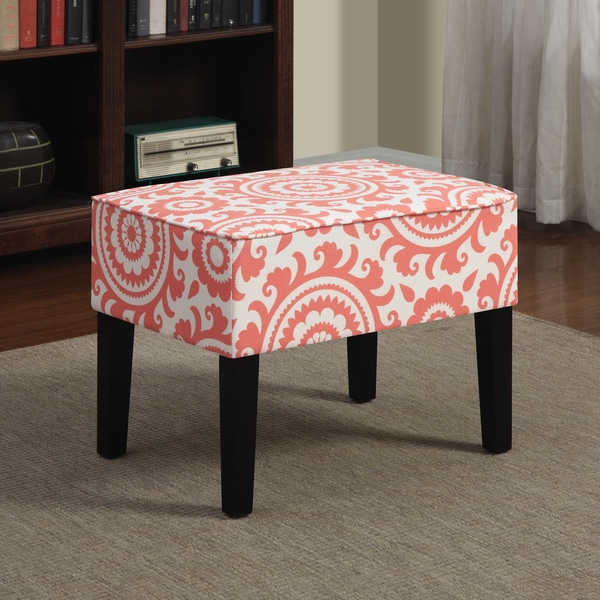 Better Living Niles Pink Coral Medallion Ottoman