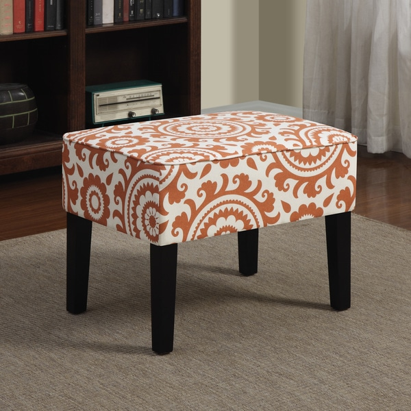 Portfolio Niles Orange Spice Medallion Ottoman