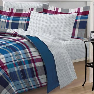 Varsity Plaid 7-piece Bed in a Bag with Sheet Set (Option: Twin)