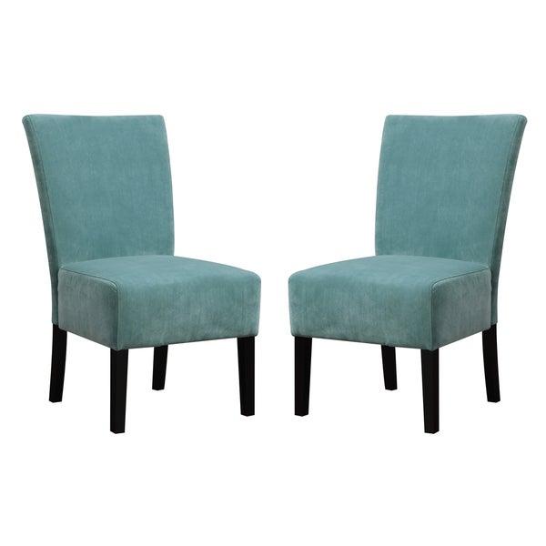 Handy Living Duet Emma Turquoise Blue Velvet Upholstered Armless Chair (Set  Of 2)