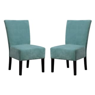 Handy Living Duet Emma Turquoise Blue Velvet Upholstered Armless Chair (Set of 2)