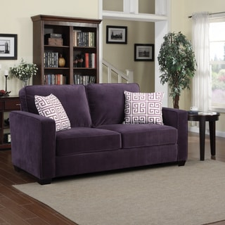 shop portfolio madi purple velvet sofa with amethyst purple greek key accent pillows free. Black Bedroom Furniture Sets. Home Design Ideas