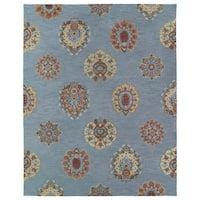Felicity Blue Flowers Hand Tufted Wool Rug (5'0 x 7'6)