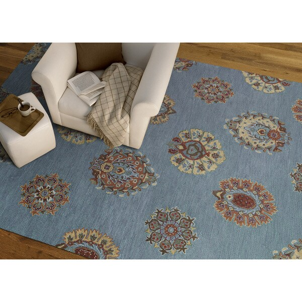 Felicity Blue Flowers Hand Tufted Wool Rug (7'6 x 9'0)