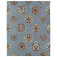 Felicity Blue Flowers Hand Tufted Wool Rug - 7'6 x 9'
