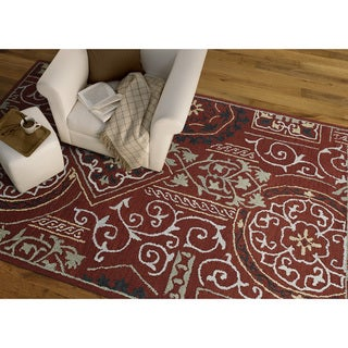 """Felicity Red Hand Tufted Wool Rug (5'0 x 7'6) - 5' x 7'6"""""""