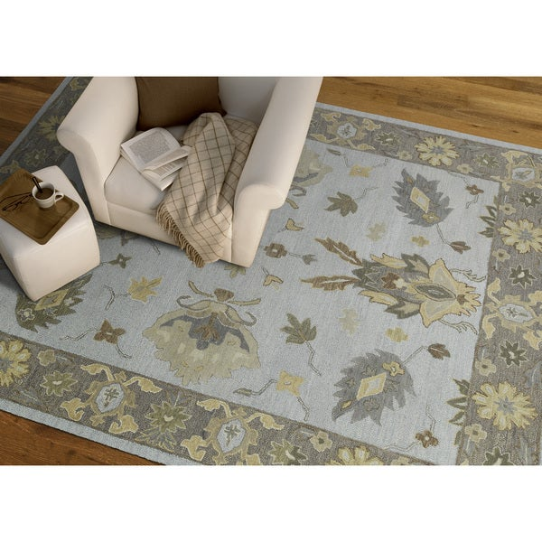 Felicity Casual Light Blue Hand Tufted Wool Rug (2'0 x 3'0)