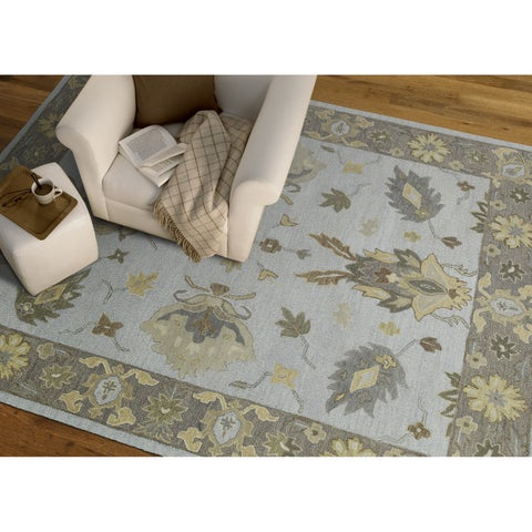 """Felicity Casual Light Blue Hand Tufted Wool Rug - 9'6"""" x 13'"""