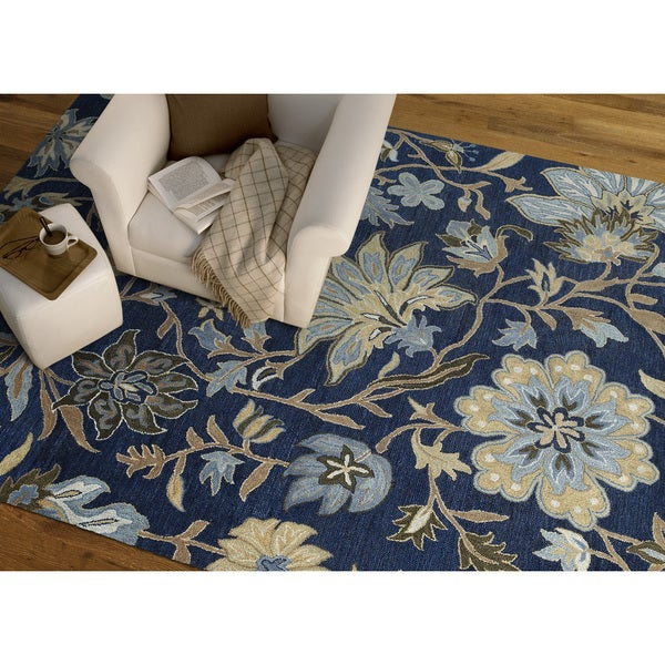 Felicity Navy Hand Tufted Wool Rug - 5'0 x 7'6