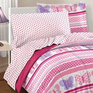 Dream Factory Butterfly Dots Pink 7-piece Bed in a Bag with Sheet Set