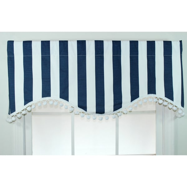 Coastal stripe navy cornice valance free shipping today for Overstock free returns