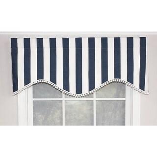 "RLF Home Coastal Stripe Cornice 50"" Window Valance - Navy"