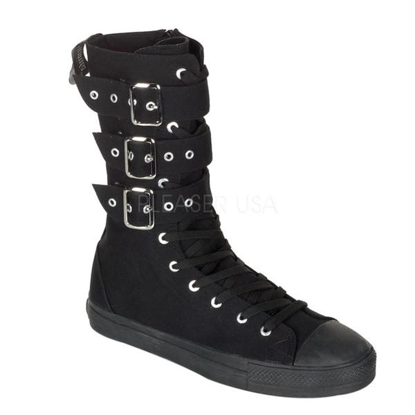 Demonia Women's 'DEVIANT-202' Canvas 3-buckle Calf Sneaker Boots