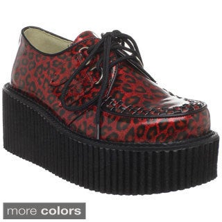 Demonia Women's 'CREEPER-208' Platform Patent Goth Punk Lace-up Shoes