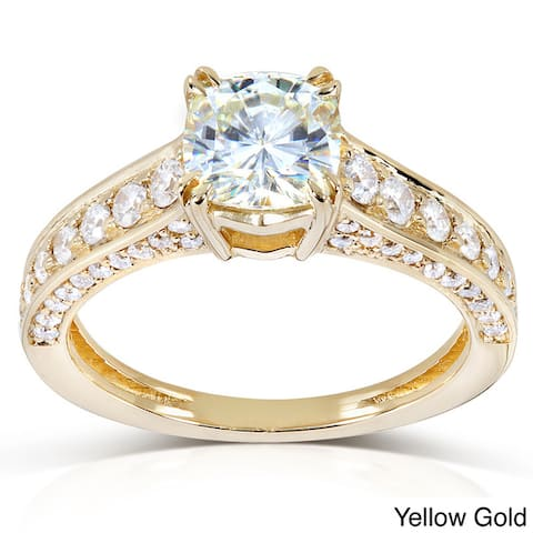 Annello by Kobelli 14k Gold 1 3/5ct TGW Cushion-cut Moissanite and Diamond Pave Vintage Engagement Ring