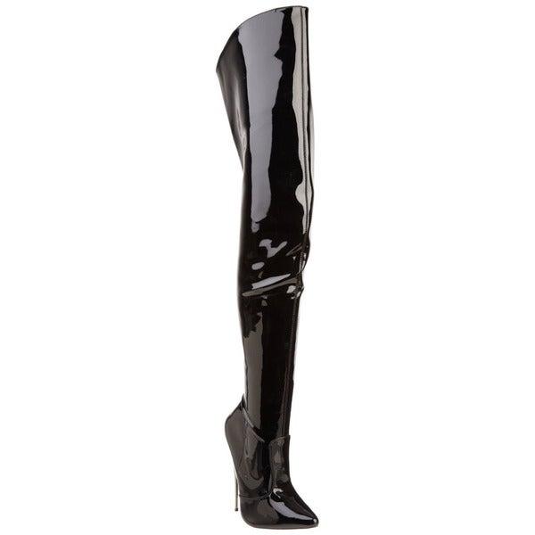 Devious Women's 'SCREAM-3010' 6-inch Metal Heel Thigh-high Black Boots