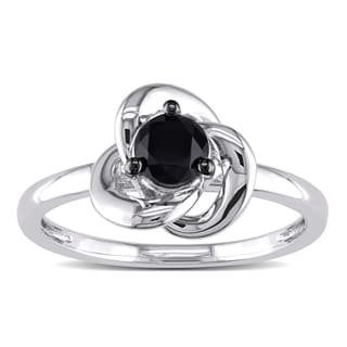 Miadora Sterling Silver 1/2Ct TDW Round-cut Black Diamond Ring