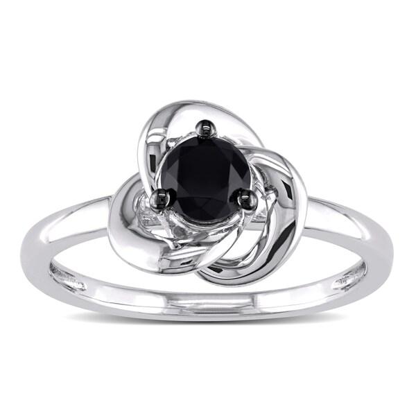 Miadora Sterling Silver 1/2Ct TDW Round-cut Black Diamond Ring