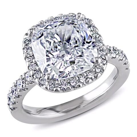 Miadora Signature Collection 18k Gold 5 5/8ct TDW GIA Certified Cushion-cut Halo Diamond Ring - White