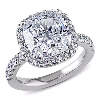 18k Gold 5 5/8ct TDW GIA Certified Cushion Cut Halo Diamond Ring (H, SI1) by Miadora Signature Collection