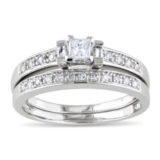 Miadora Sterling Silver 1/3ct TDW Princess, Baguette and Round-cut Diamond Bridal Ring Set