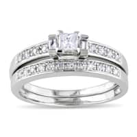 Miadora Sterling Silver 1/3ct TDW Princess, Baguette and Round-cut Diamond Bridal Ring Set