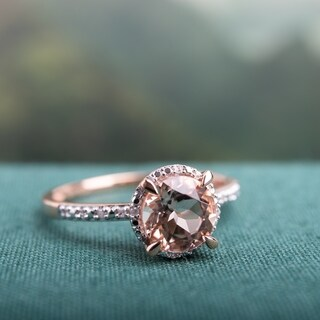 Miadora 10k Rose Gold 1 1/6ct Morganite and 1/4ct TDW Diamond Halo Engagement Ring