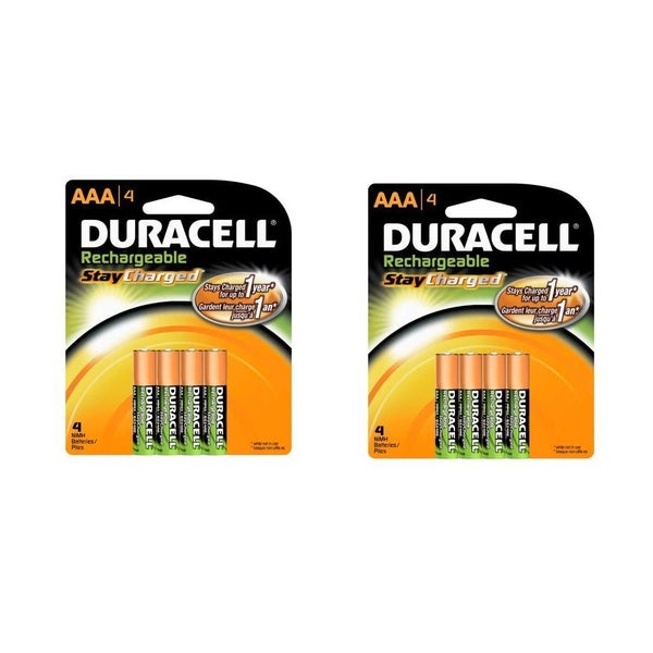 Duracell Rechargeables StayCharged AAA Batteries, 4-Count (Pack of Two)