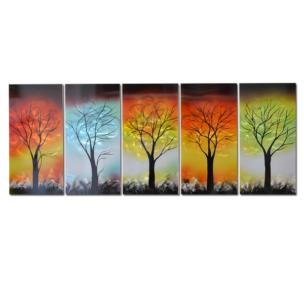 Hand Painted 'The Five Elements' 5-piece Metal Artwork