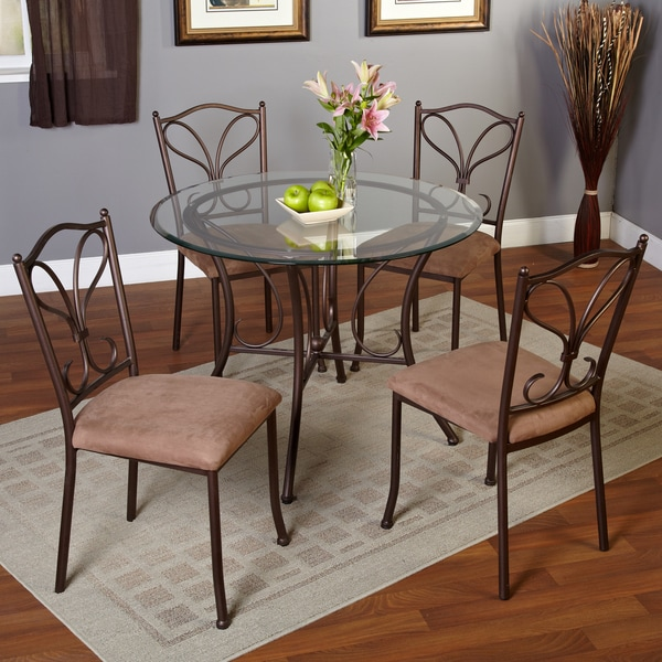 Simple Living 5-piece Alton Metal Golden Brown Dining Set