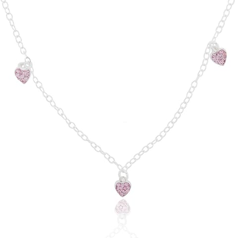 Mondevio Sterling Silver Pink Crystal Hearts Children's Necklace